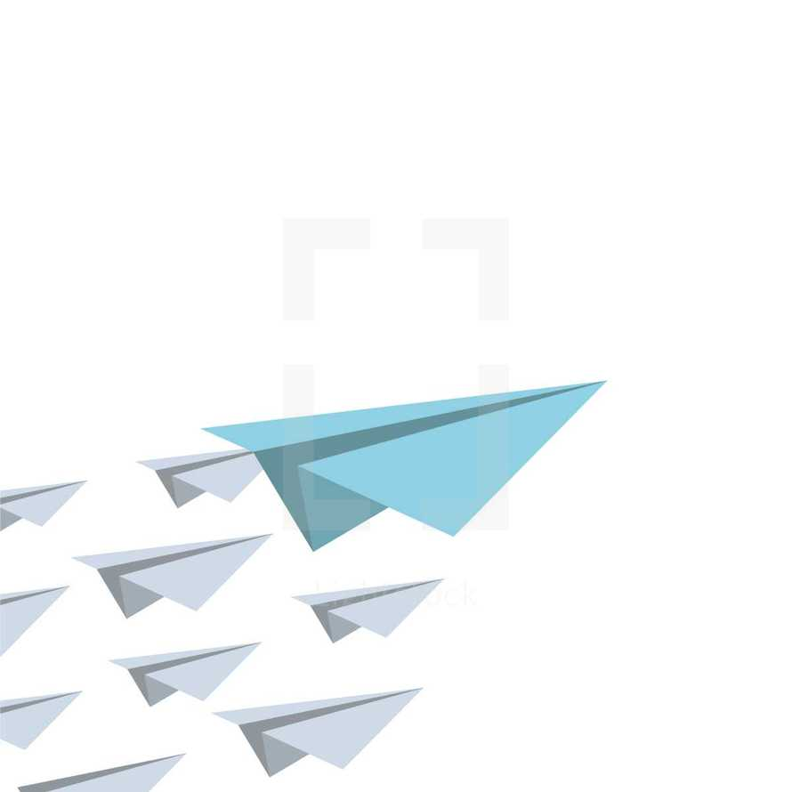 paper airplanes following a leader concept.