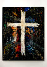 Textural Cream and Gold Cross on Rich Colors and Black Background, 6 Files, 5 Sizes