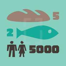 fish and bread feeding the masses