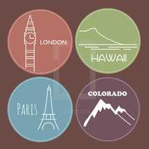 London, Hawaii, Paris, Colorado, travel, stickers, badges