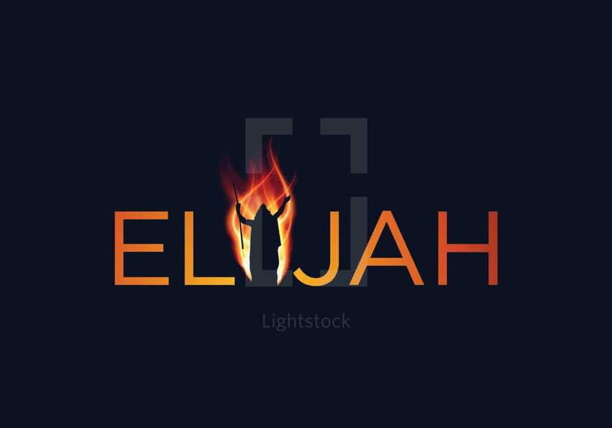 Elijah word with silhouette of a man
