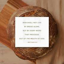 Man shall not live by bread alone, but by every word that proceeds. out of the mouth of God. – Matthew 4:4