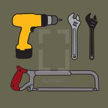 tools, drill, saw, wrench