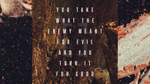You take what the enemy meant for evil and You turn it for good