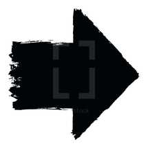 Arrow sign created with a black ink and brush. Graphic element for design saved as an vector illustration in file format EPS