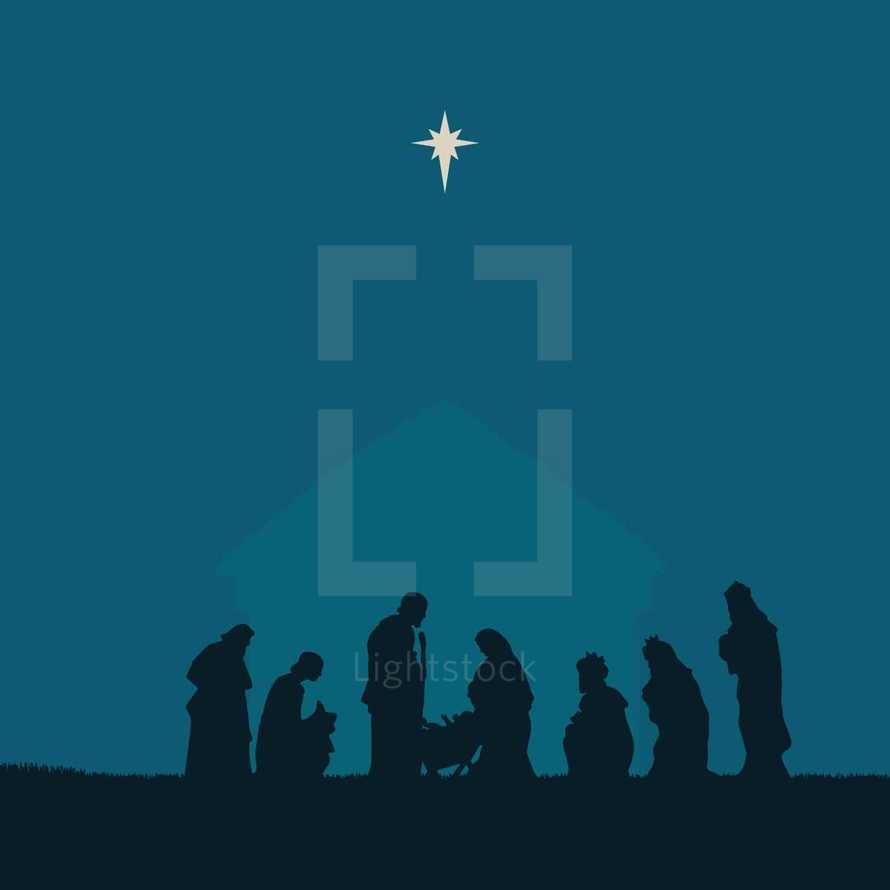 Nativity scene silhouette.