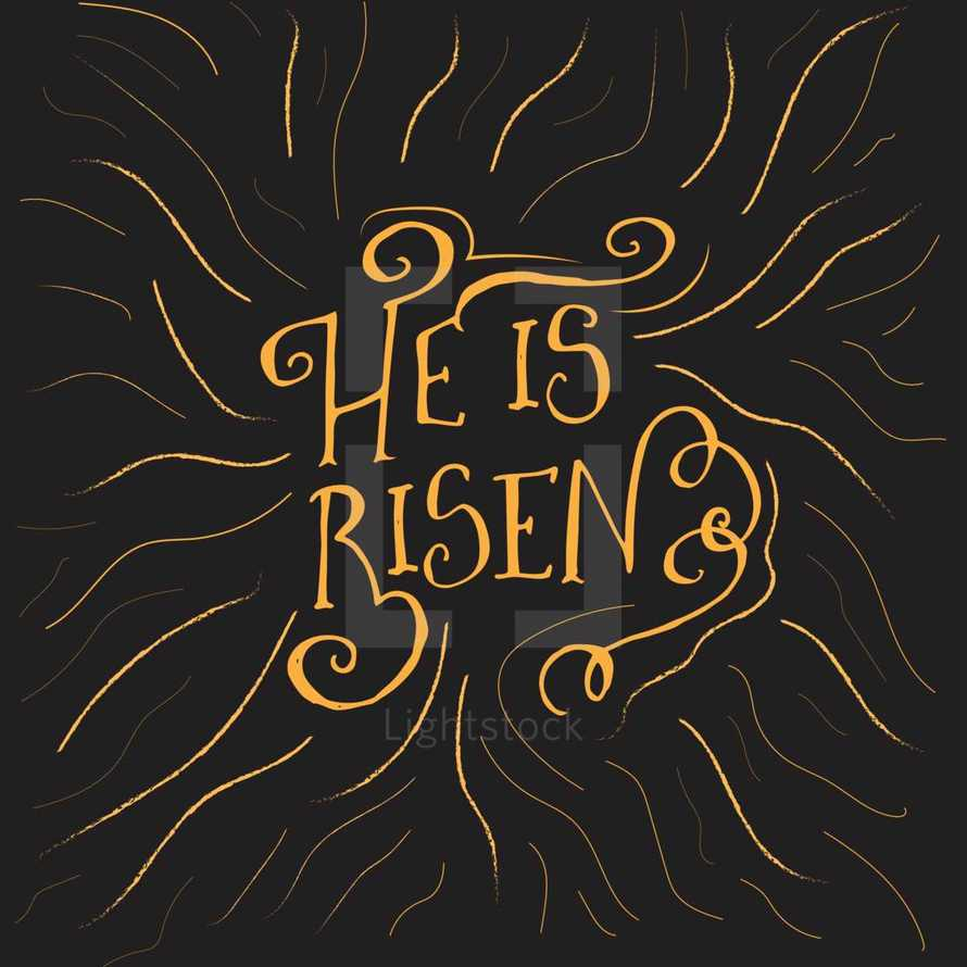 He is Risen Typographic custom design for Easter Sunday