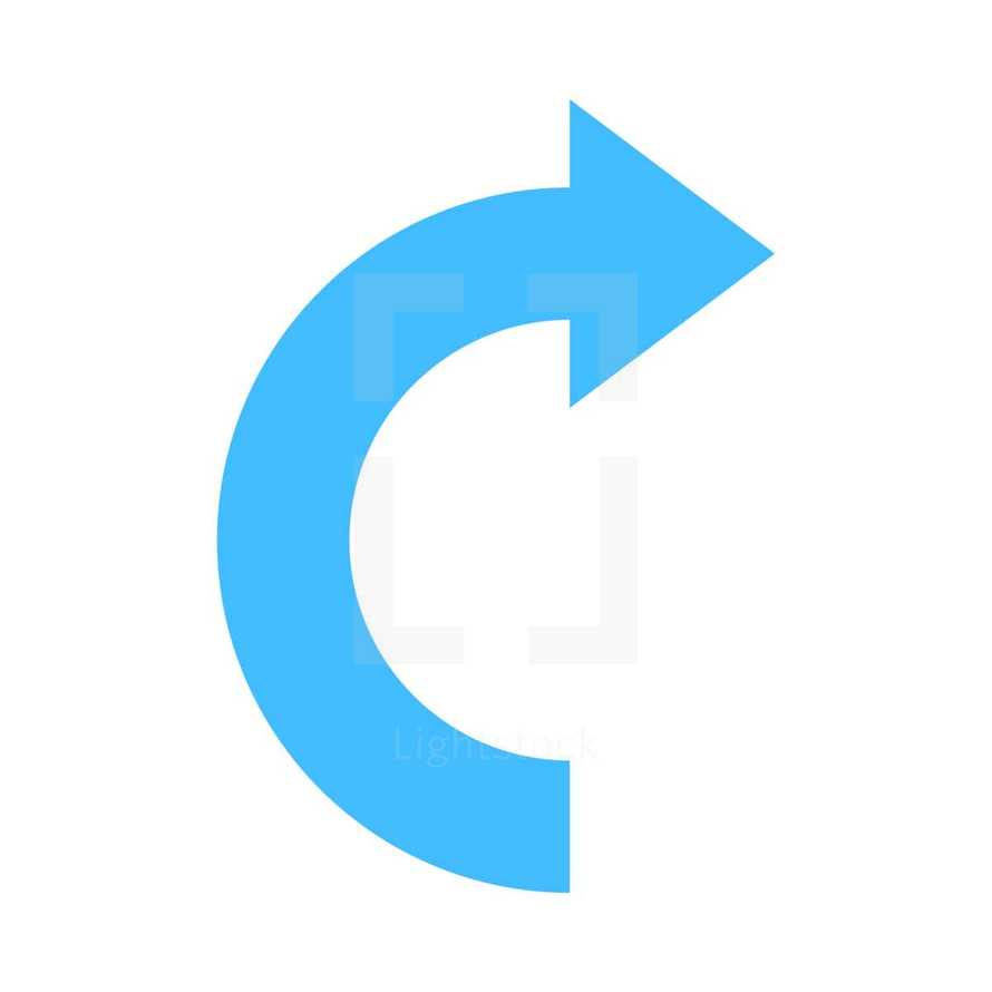 Blue arrow sign undo, left, right, down, up icon. Arrow reload, refresh, rotation, loop, repetition, reset sign created in flat style. The graphic element saved as a vector illustration in the EPS file format for used in your design projects.
