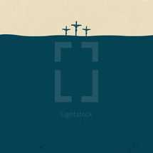 vector illustration of three crosses landscape background.