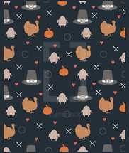 Thanksgiving seamless pattern background silhouettes of pumpkins, turkey, spoon, fork, hearts, wreaths, and pilgrim hats
