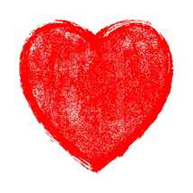 Red heart sign isolated on white background. The red heart symbol with paint texture created in watercolor painting technique. Quick and easy recolorable shape isolated from the background. The design graphic element saved as a vector illustration in the EPS file format for used in your design projects.