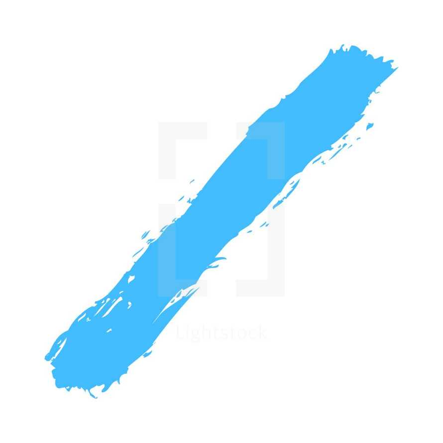 The blue paint brush stroke is drawn by hand. Paintbrush drawing on canvas. Hand-drawn brushstroke texture on paper. Rectangle shape. The graphic element saved as a vector illustration in the EPS file format for used in your design projects.