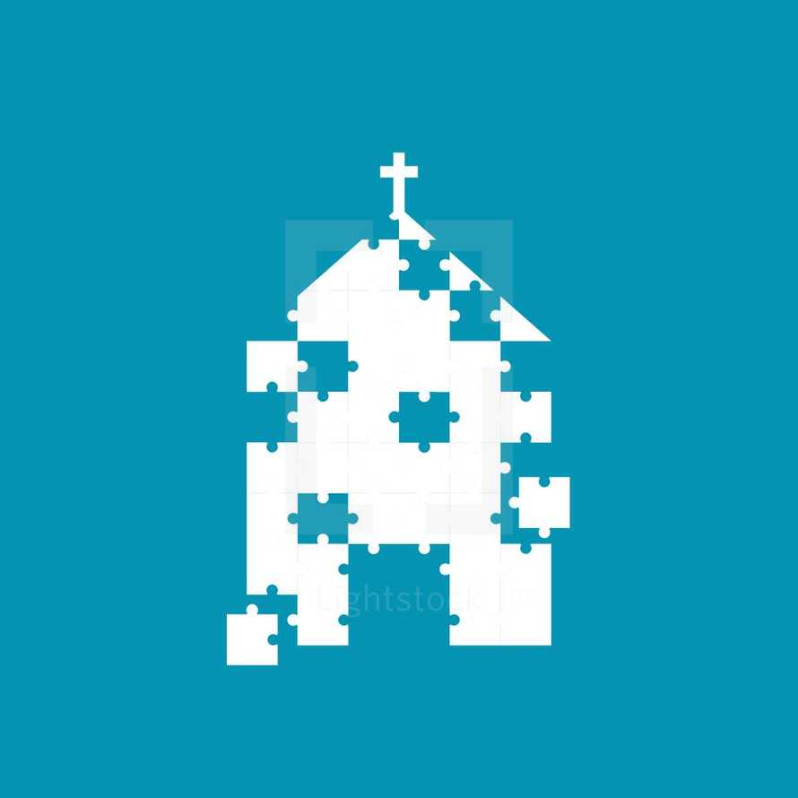 church building made up of puzzle pieces.