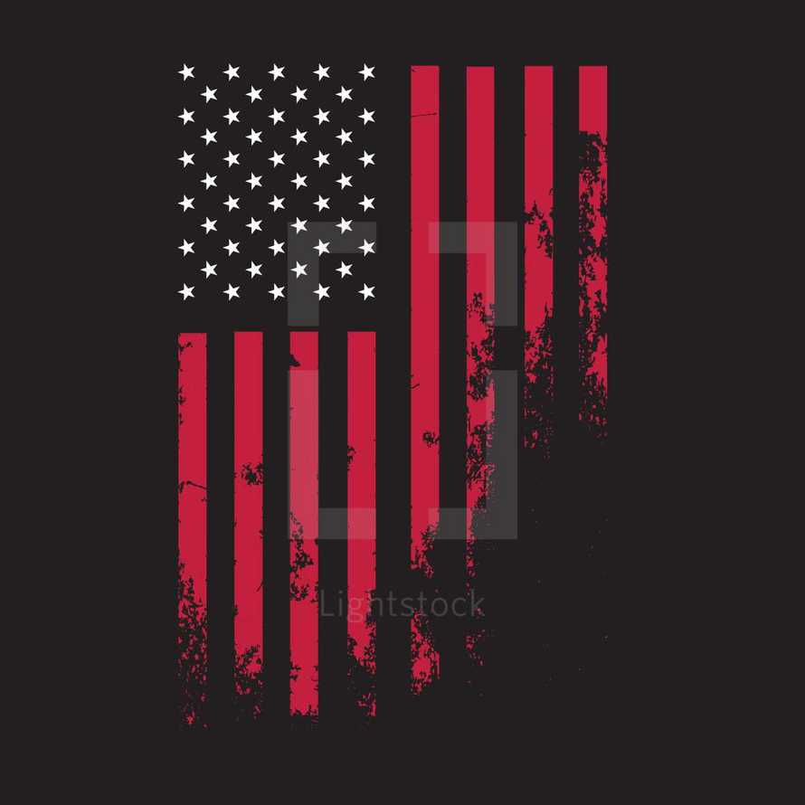 Distressed Grunge Textured American Flag of United States