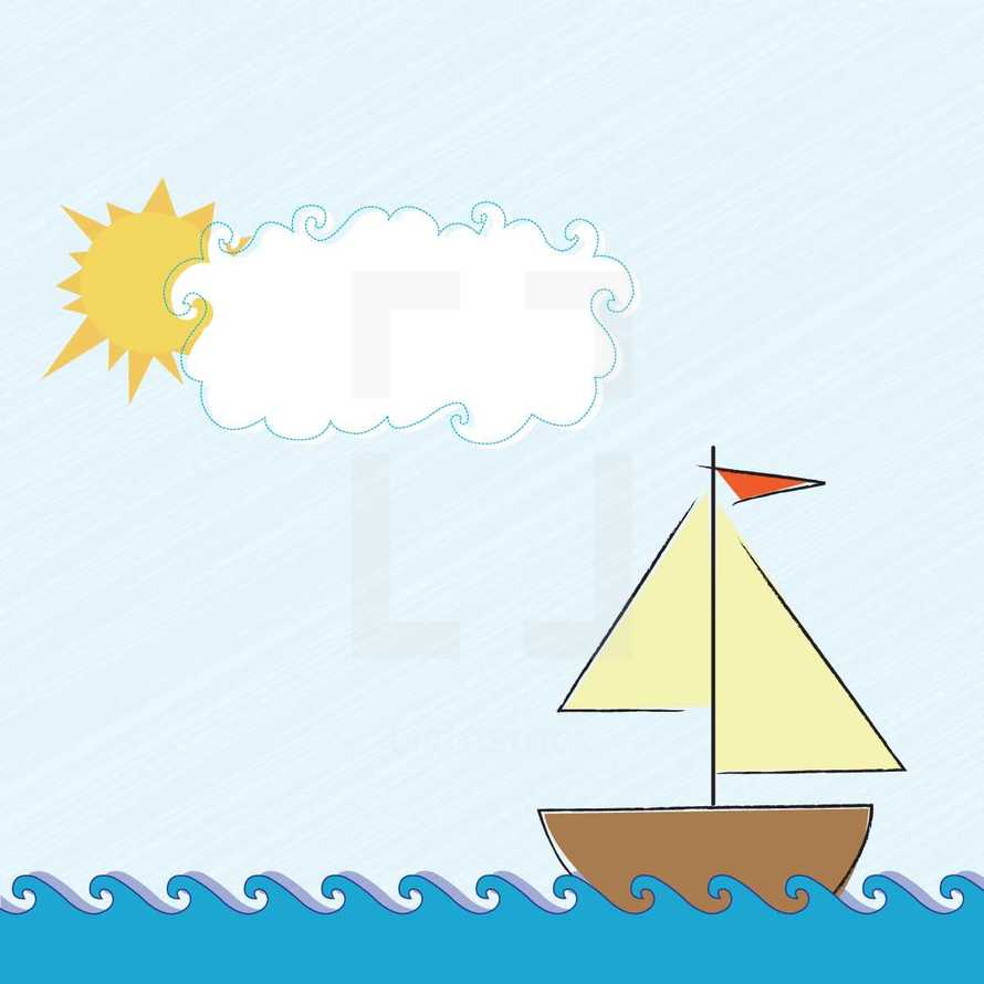 sail boat in water and sun and clouds