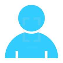 Person flat user icon member sign avatar button. Quick and easy recolorable shape isolated from background. The graphic element saved as a vector illustration in the EPS file format for used in your design projects.