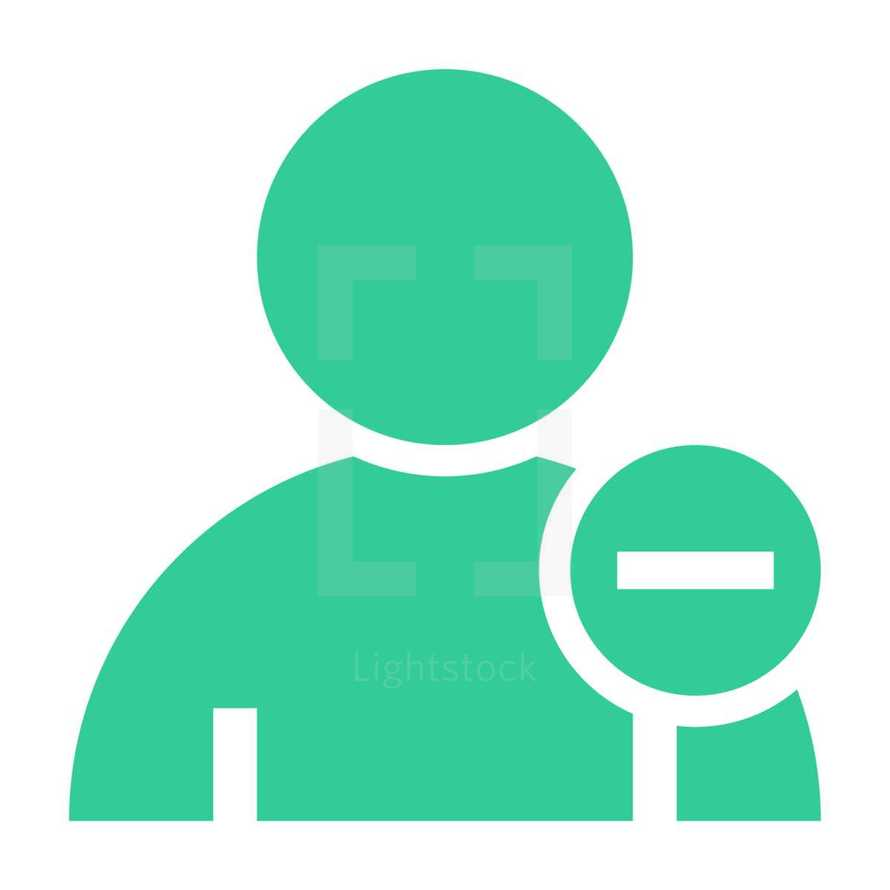 don't add a friend. Person user icon with minus symbol. Member sign. Avatar button. Man pictogram. Web internet icon created in trendy flat style. Quick and easy recolorable shape isolated on white background. The graphic element saved as a vector illustration in the EPS file format for used in your design projects.