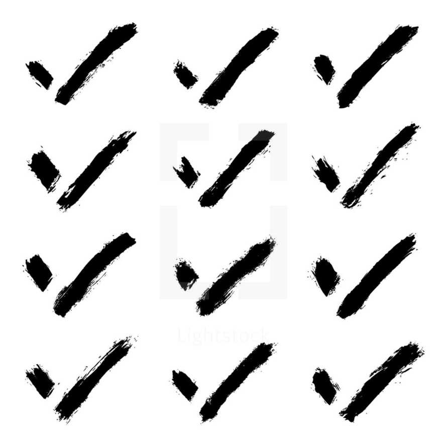 check marks sign created using paint brushstroke isolated on white background