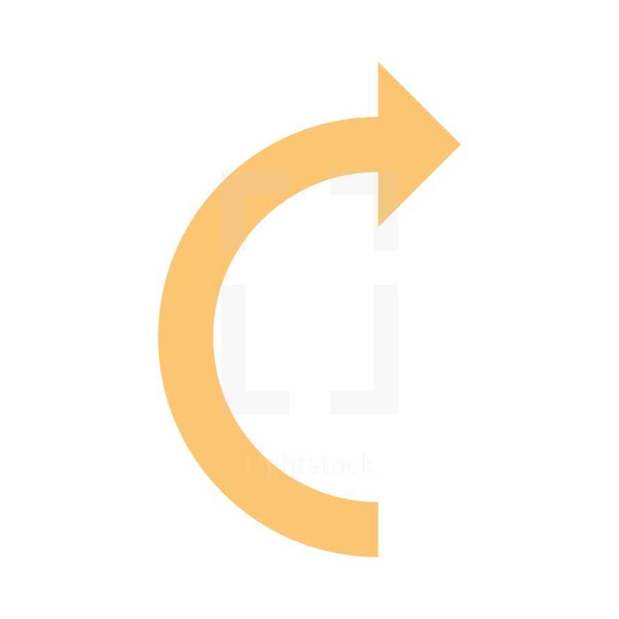 Beige arrow sign undo, left, right, down, up icon. Arrow reload, refresh, rotation, loop, repetition, reset sign created in flat style. The graphic element saved as a vector illustration in the EPS file format for used in your design projects.