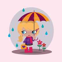 a girl in the rain with an umbrella and rain boots