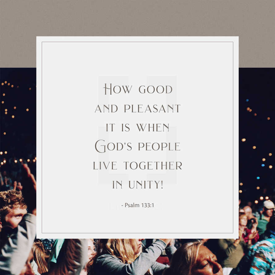 How good and pleasant it is when God's people live together in unity! – Psalm 133:1