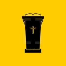 Christian symbols. The chair of the preacher in the church. Tribune for God's Word.