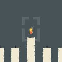 illustration of a flame burning on a lone candle.