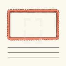 oblong, border, box, frame, note, lines, mail, stamp, envelope