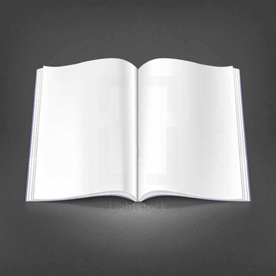 Blank pages. Outdoor magazine with white empty journal pages. Open book spread with blank pages. The design graphic element is saved as a vector illustration in the EPS file format for your design projects.