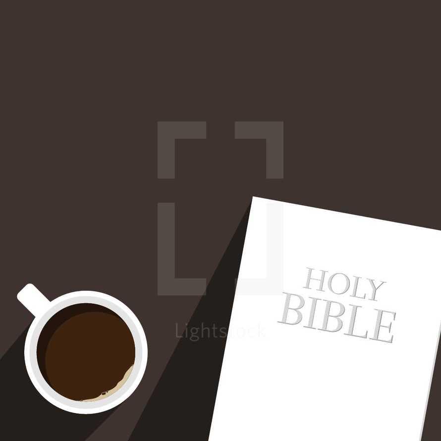 coffee mug and Holy Bible illustration.