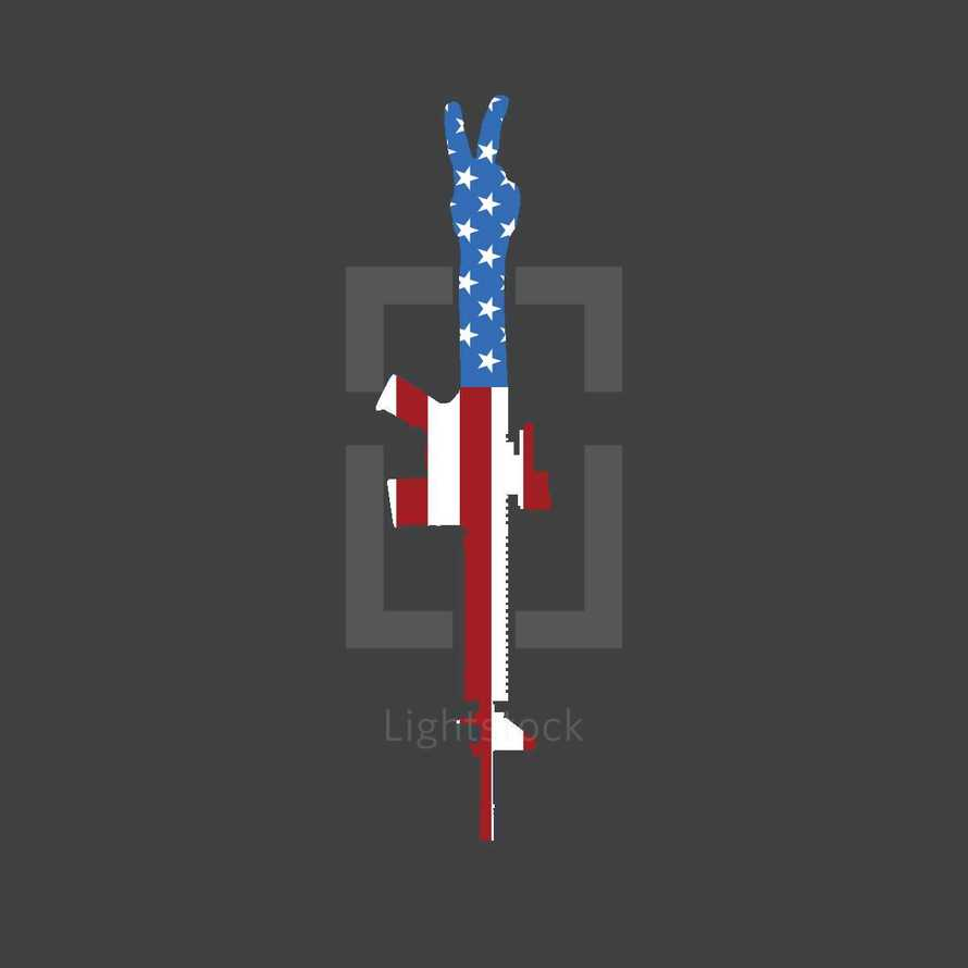 AR-15 Rifle United States of America Flag with Peace Sign