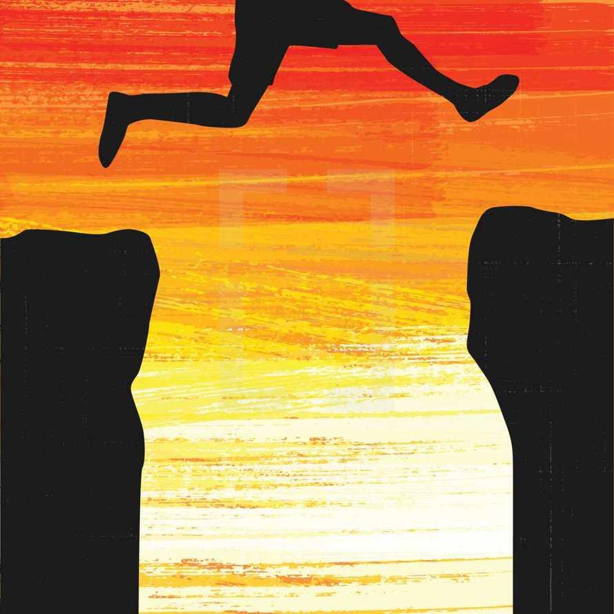 leap of faith over a cliff
