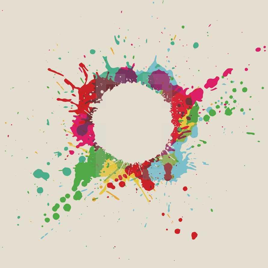 paint splatter circle graphic.