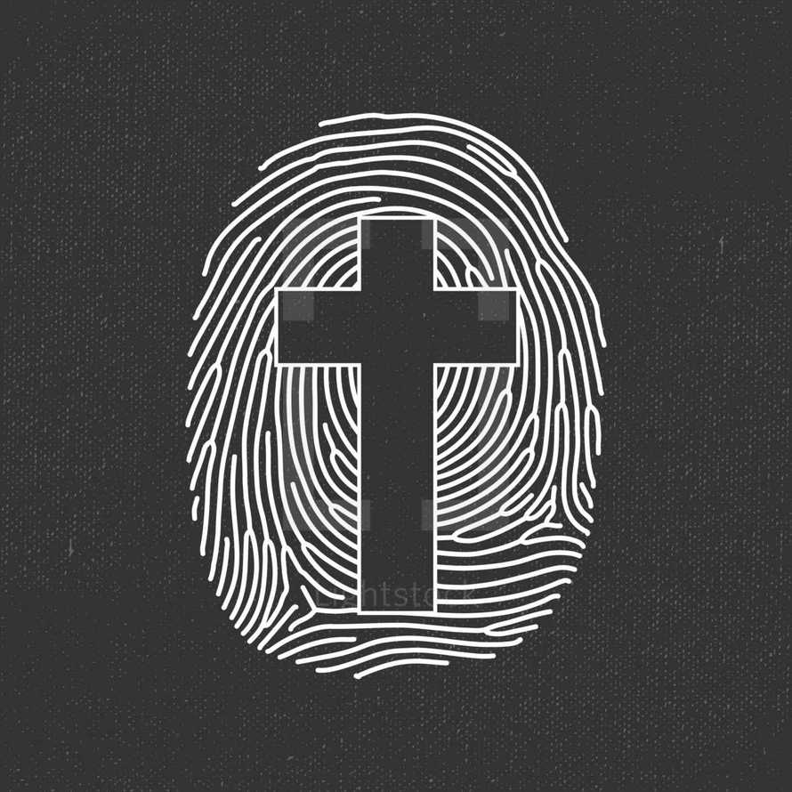 cross in a finger print icon