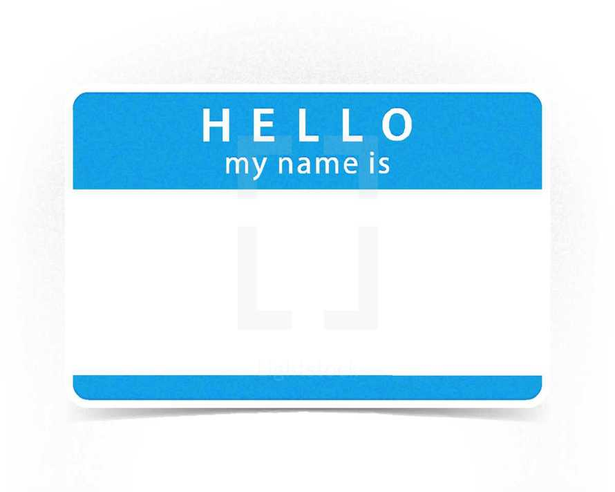 Blue Hello Name tag badge blank sticker HELLO my name is. Graphic element for design saved as an vector illustration in file format EPS