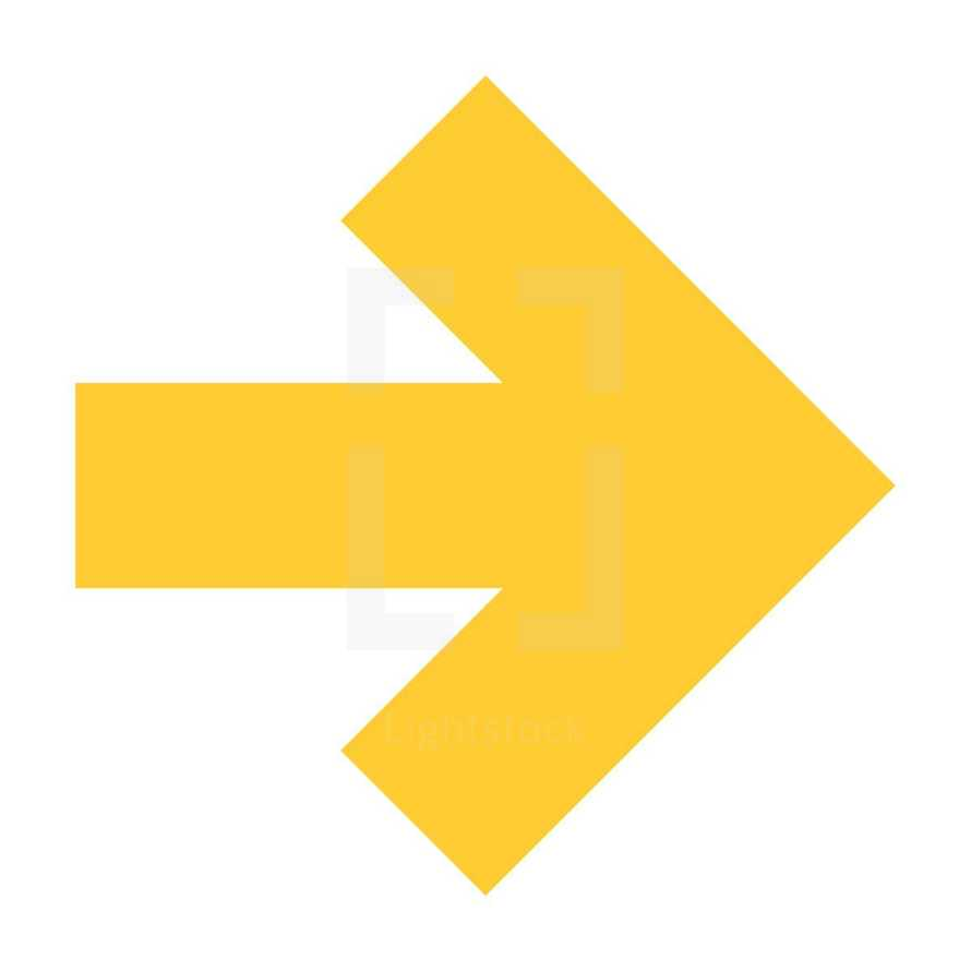 Yellow arrow icon located on white background. Golden arrow sign created in flat design style. Quick and easy recolorable arrow shape isolated from the background. The design graphic element saved as a vector illustration in the EPS file format for used in your design projects.