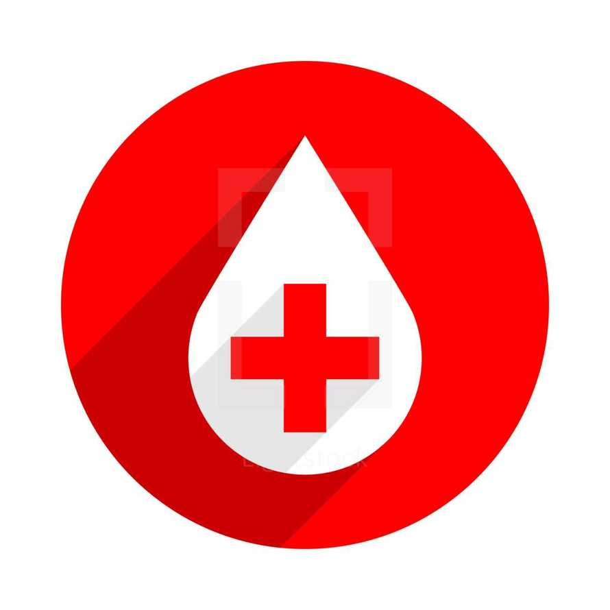 Blood drive vector illustration for blood drive, campaigns and special events to solicit blood donations. White drop with a red criss cross is on a red circle on a white background. Donate drop blood icon is created in a flat style with long shadows. The design graphic element is saved as a vector illustration in the EPS file format for used in your design projects.