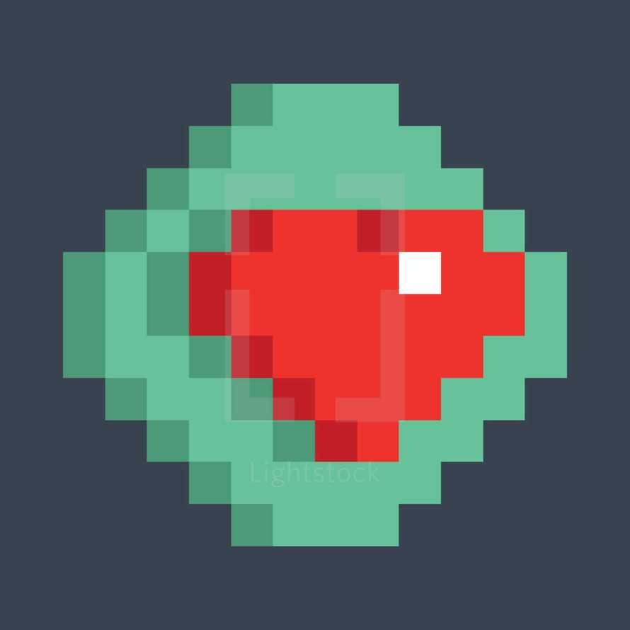 Red heart icon on the green button created in the style of pixel art. Quick and easy recolorable shape isolated from the background. The design graphic element saved as a vector illustration in the EPS file format for used in your design projects.