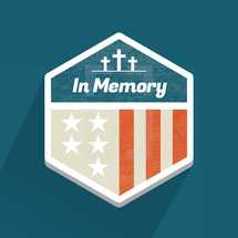 A Memorial Day holiday badge or patch to remember veterans, soldiers or military who died in service to our country