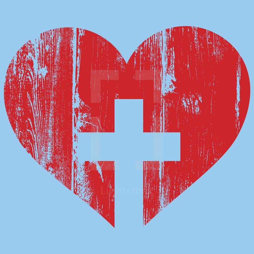 wood grain heart and cross