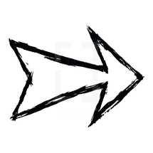 Arrow sign created with a brush and black ink. Graphic element for design saved as an vector illustration in file format EPS