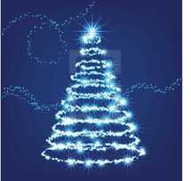 glowing Christmas tree of light