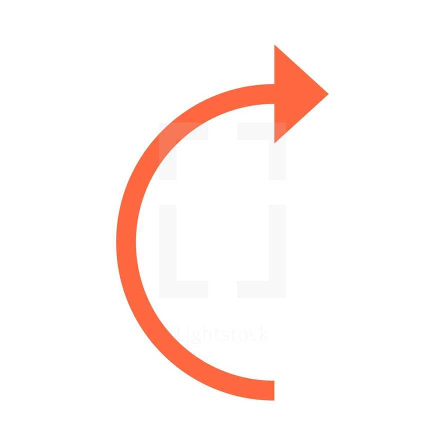 Orange arrow sign undo, left, right, down, up icon. Arrow reload, refresh, rotation, loop, repetition, reset sign created in flat style. The graphic element saved as a vector illustration in the EPS file format for used in your design projects.