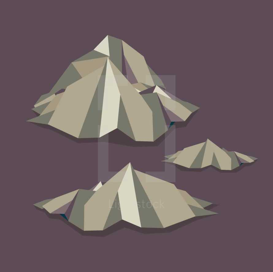 mountains and rocks icons