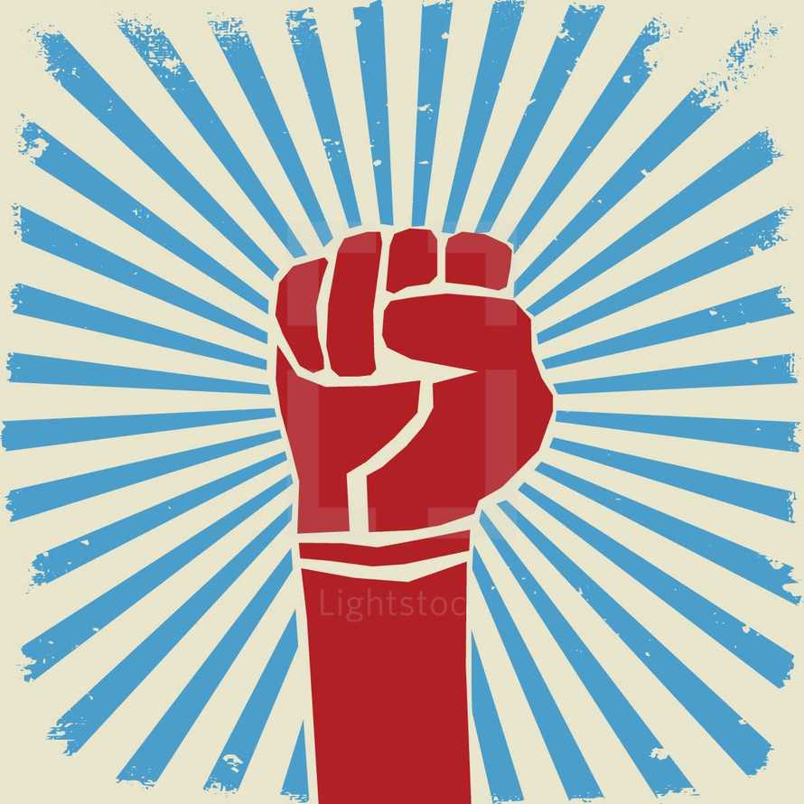 raised fist with sunburst.