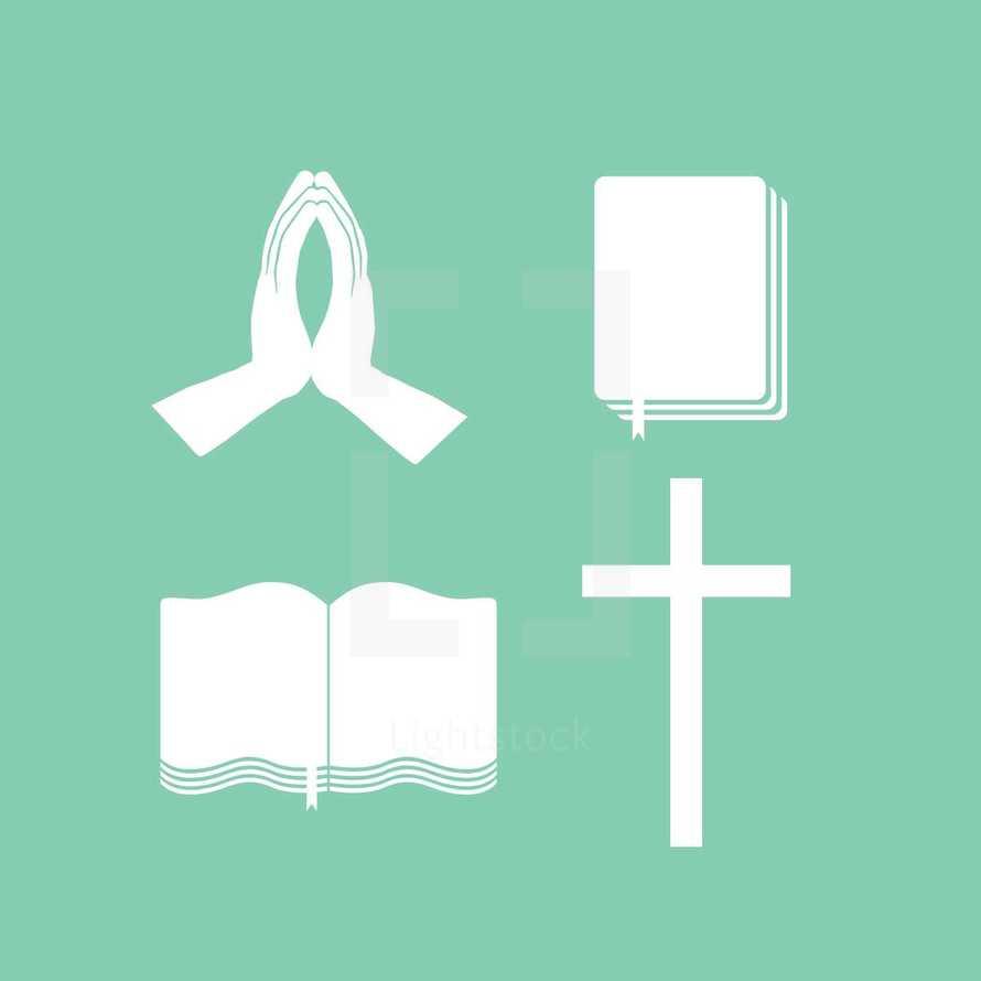 praying hands, Bible, cross, open Bible, icons