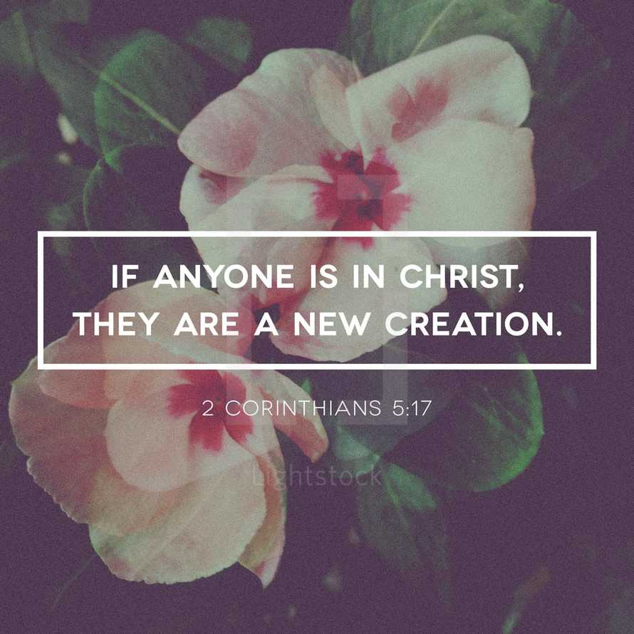 If anyone is in Christ, they are a new creation. 2 Corinthians 5:17
