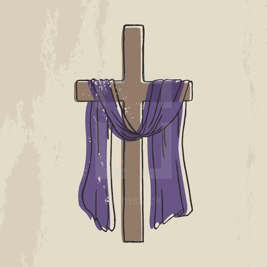 purple shroud on a cross