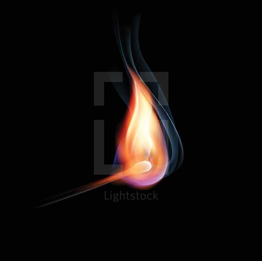 Glowing lit match with smoke trails
