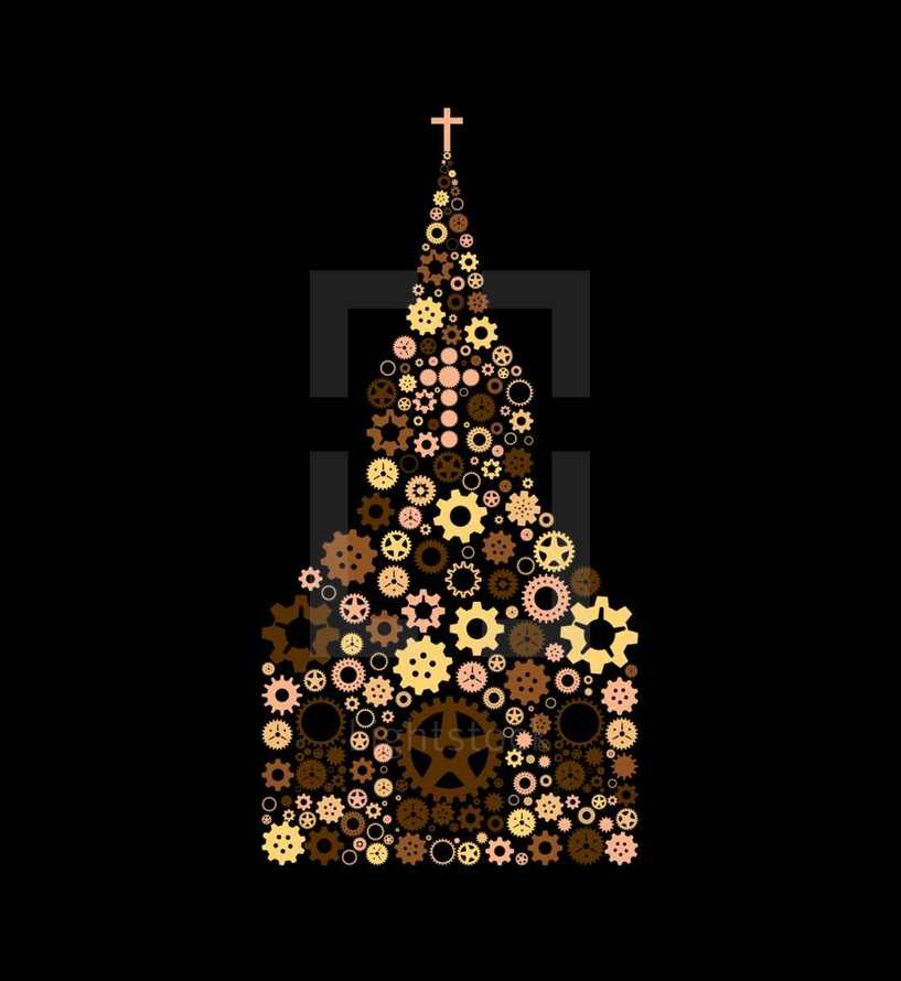 Fully editable gears or cogs of various colors in the shape of a church representative of a working or healthy church.